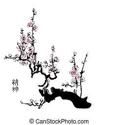 Sakura blossom - Sakura painting in chinese watercolor style