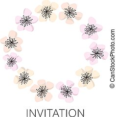 sakura blossom vector wreath template. cherry floral illustration. modern style flower of spring tree flowers