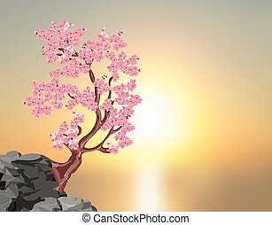Sakura blossoms. A tree of pink cherry on a stone. Against the background of a beautiful sunset. illustration