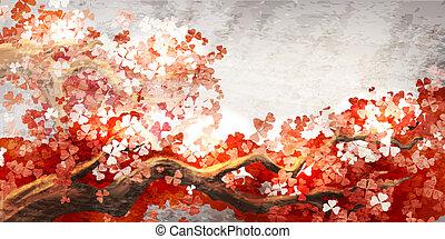 Sakura branch blooming