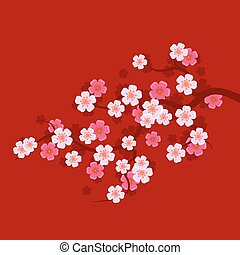 Sakura Branch on Red Background. Oriental cherry tree. Vector