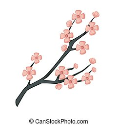 Sakura branch spring cherry blossom isolated Japanese symbol