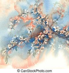 sakura branches in bloom watercolor background - sakura...