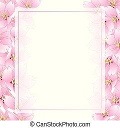 Sakura Cherry Blossom Banner Card Border - Prunus serrulata...