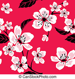 Illustration of a seamless sakura (cherry blossom) pattern tile. Tile can be dragged and dropped into Illustrator's swatches palette.