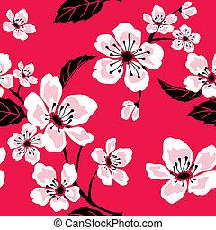 Sakura (Cherry) Blossom Pattern - Illustration of a seamless...