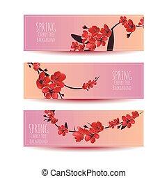 Sakura, Cherry Blossoming Tree Vector Background Illustration.