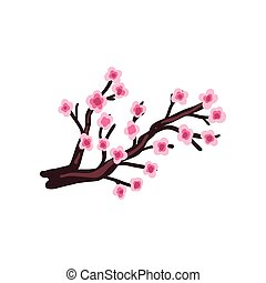 Sakura cherry branch with blooming flowers vector Illustration on a white background