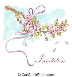 Sakura cherry invitation