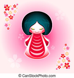 Sakura doll - Spring japanese kokeshi doll with sakura...
