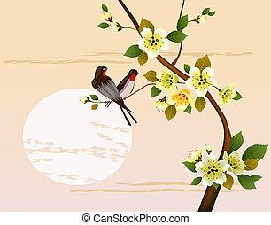 Sakura .Evening in the garden blooming cherry and birds sing