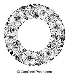 Sakura frame - Sakura radial frame.  illustration.