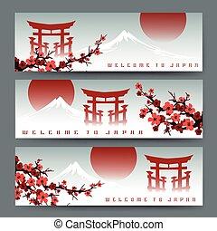 Sakura, fuji mountain and torii banners