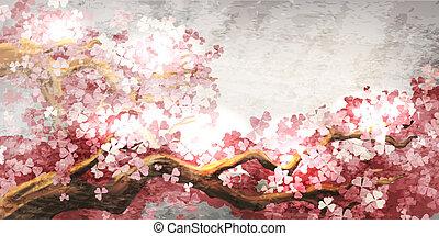 sakura, gałąź, rozkwiecony