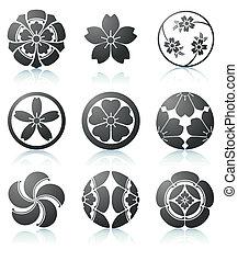 Sakura graphic elements - Vector illustration set of...
