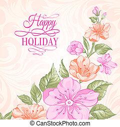 Sakura holiday invitation card. Vector illustration.