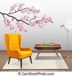 sakura, interior, composição