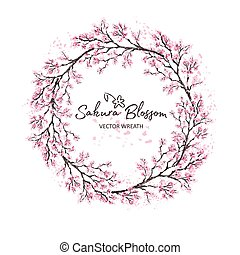 Sakura japan cherry branch of wreatht with blooming flowers watercolor style vector illustration.