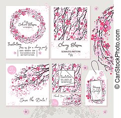 Sakura japan cherry branch set invitation layout banner wreatht with blooming flowers watercolor style vector illustration.
