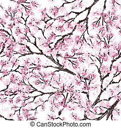 Sakura japan cherry branch with blooming flowers vector illustration. Hand drawn style. Seamless surface pattern.