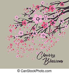 Sakura japan cherry branch with blooming flowers vector illustration.