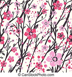 Sakura japan cherry branch with blooming flowers vector illustration. Seamless pattern.