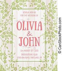 sakura, mönster, inbjudan, card., kort, seamless, bakgrund, bröllop, text., vektor, blomma, ram, elegant