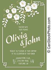 sakura, modello, invito, card., scheda, seamless, fondo, matrimonio, text., vettore, fiore, cornice, elegante