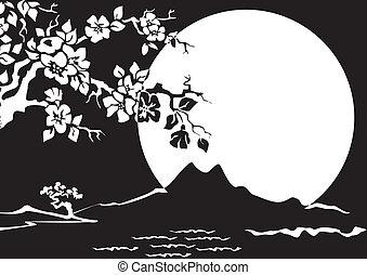 Night Landscape. Sakura on the background of the full moon. Black and white illustration.