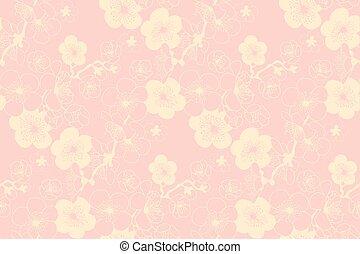sakura, primavera, florecer, seamless, pattern.