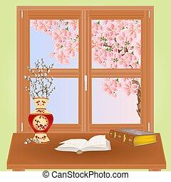 sakura, printemps, vecteur, fenêtre