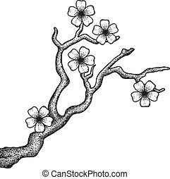 Sakura retro - Illustration of a blossoming cherry tree...