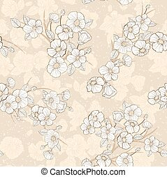 Sakura - Seamless cherry bloomi background. Fabric textile...