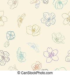 Sakura seamless pattern hand sketching.