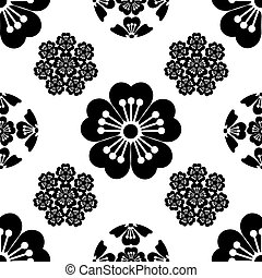 Sakura seamless stylized flower, Japanese symbols, black on white background, isolated, illustration.