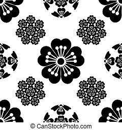 Sakura seamless stylized flower, Japanese symbols, black on white background, isolated, illustration.