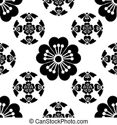 Sakura seamless stylized flower, symbolizes the arrival of spring, the Japanese symbols, black on white background, isolated, illustration