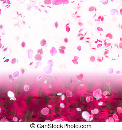 Sakura Snowfall Petals Abstract Background in Pink and White