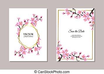 Sakura themed wedding invitation set - text template with cherry blossom flowers