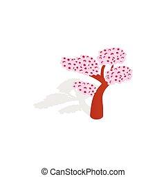 Sakura tree icon, isometric 3d style