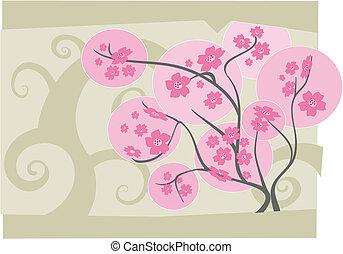 Sakura tree in full bloom - vector