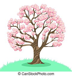 Sakura tree isolated on a white background. Vector graphics.