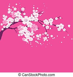 sakura tree; watercolor, cherry bloom