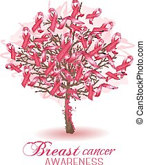 Sakura tree with breast cancer awareness ribbons. Vector.