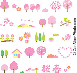 sakura trees set, vector file