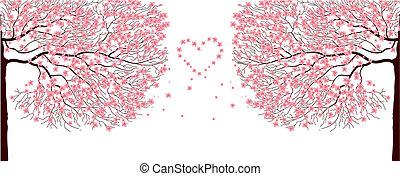 Sakura trees. - Illustration of sakura trees.Vector love...