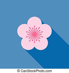 sakura vector icon, flat design