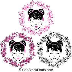 Sakura wreath with girl portrait