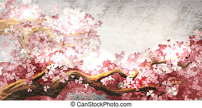 sakura, zweig, blühen