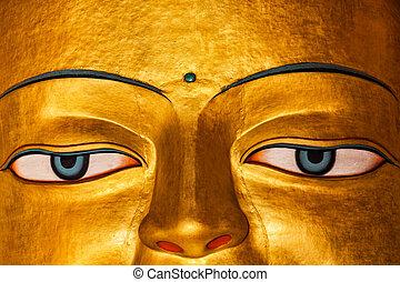 Sakyamuni Buddha statue face close up